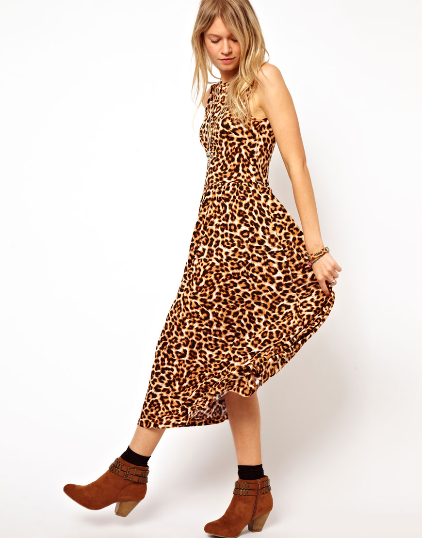 989e05881d2 Lyst - ASOS Midi Sundress with Scoop Back in Animal Print in Brown
