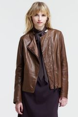 Brunello Cucinelli Leather Quilted Lapel Jacket - Lyst