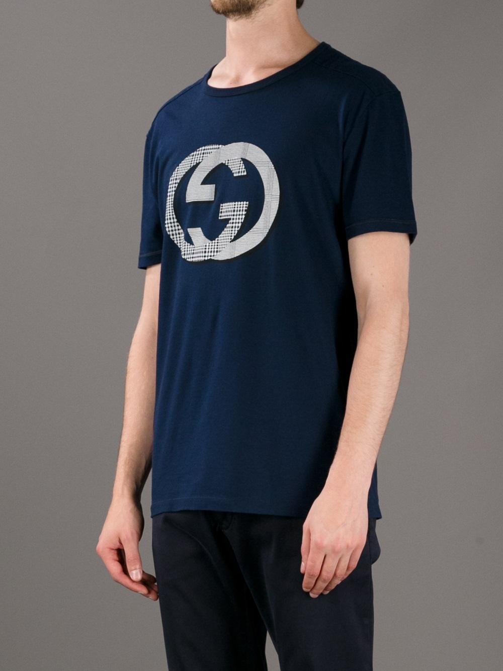 88533242ab0e Gucci Logo Tshirt in Blue for Men - Lyst