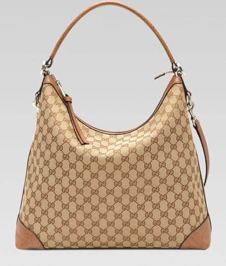 27fe4b014fe Gucci Miss Gg Original Gg Canvas Hobo in Brown (tan) - Lyst