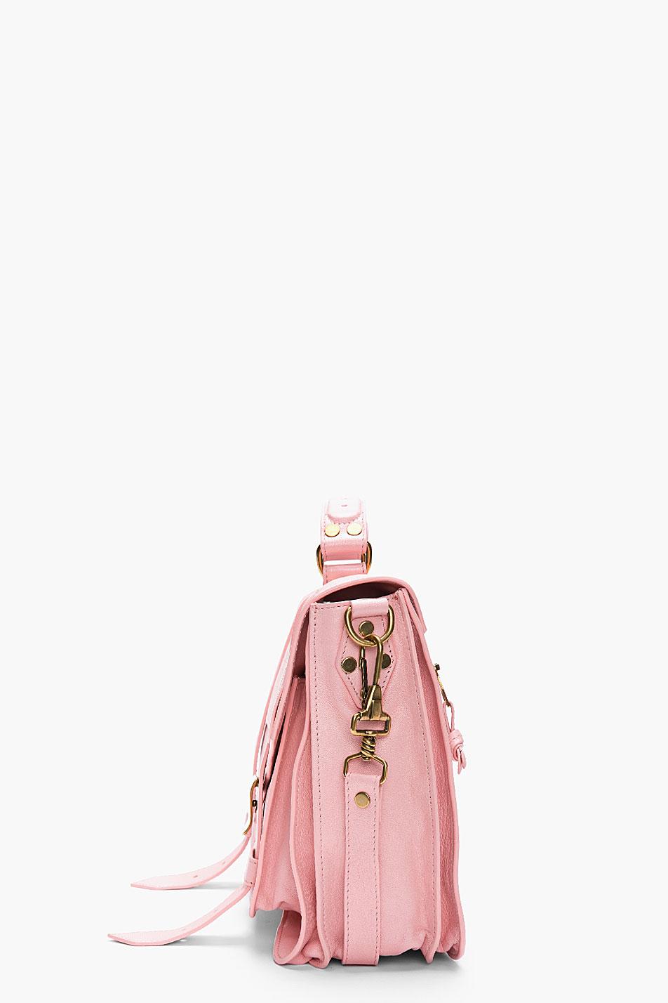 9622a3dd31 Lyst - Proenza Schouler Piglet Pink Leather Foldover Ps1 Messenger ...