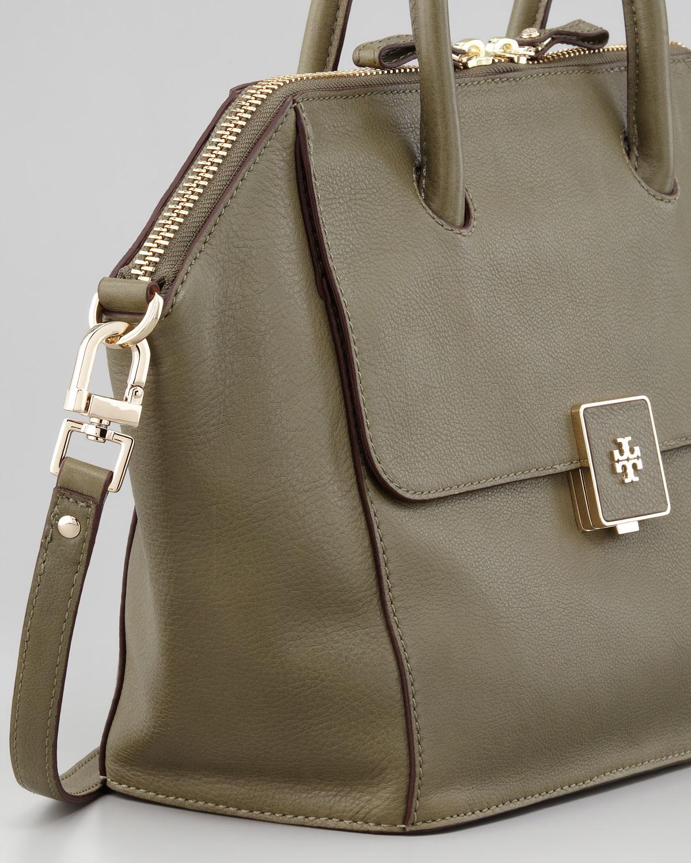 52db7b3bc3d Lyst - Tory Burch Clara Leather Satchel Bag Green in Green