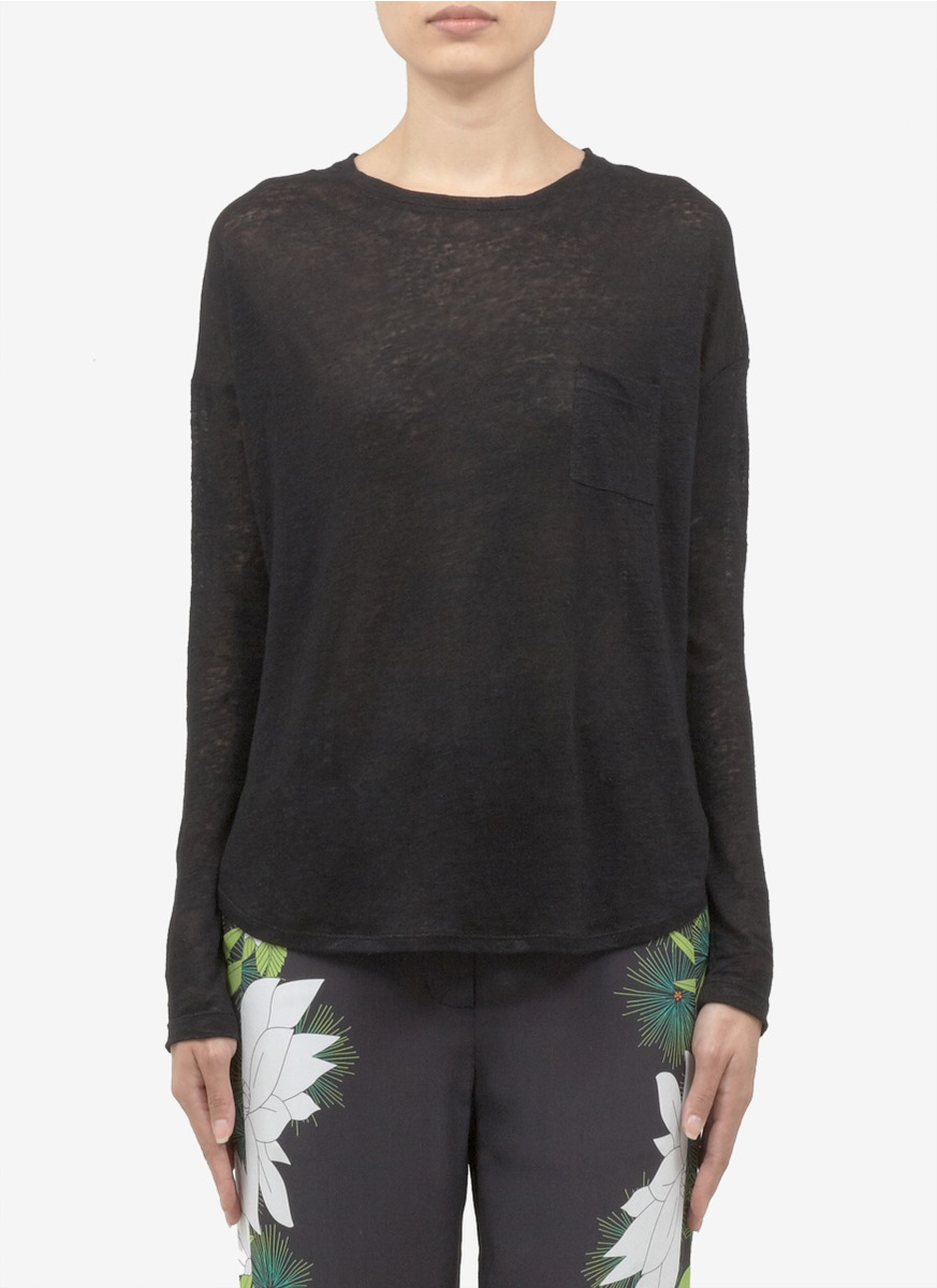 vince linen long sleeve t shirt in black lyst