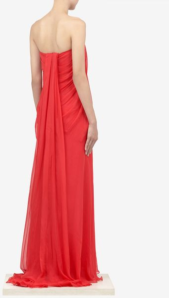 Alexander Mcqueen Silkchiffon Bustier Dress In Red Lyst