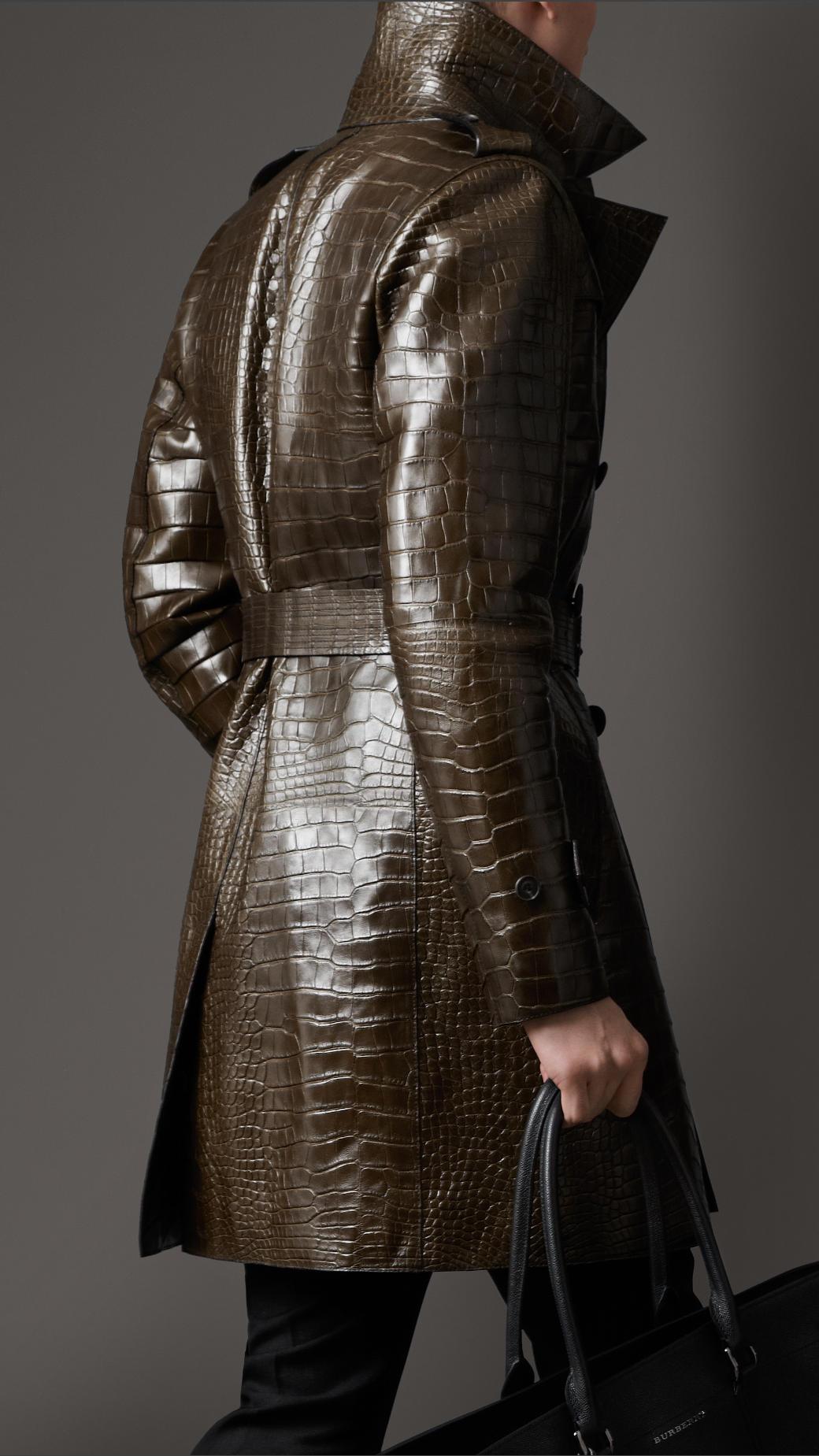 burberry alligator trench coat in brown for men lyst. Black Bedroom Furniture Sets. Home Design Ideas