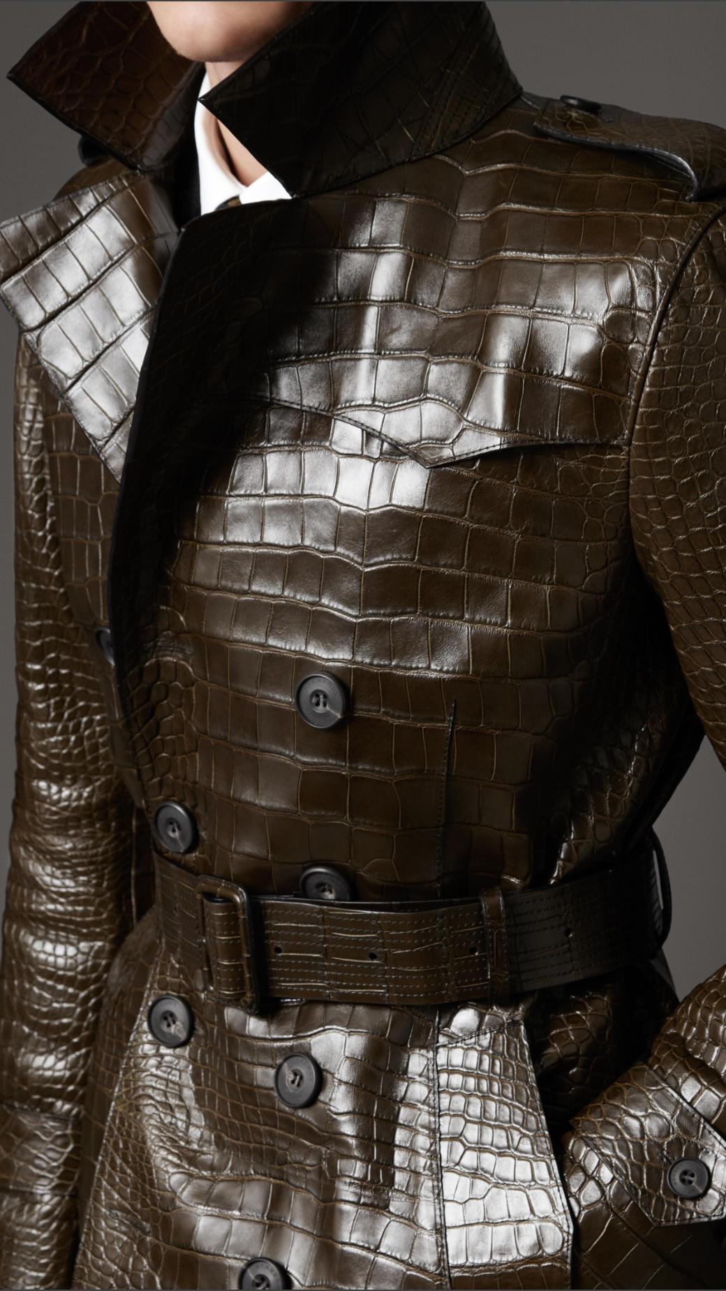 Burberry Alligator Trench Coat In Brown For Men Lyst