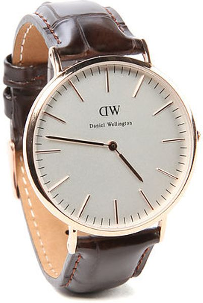 daniel wellington the york watch in rose gold in gold for. Black Bedroom Furniture Sets. Home Design Ideas