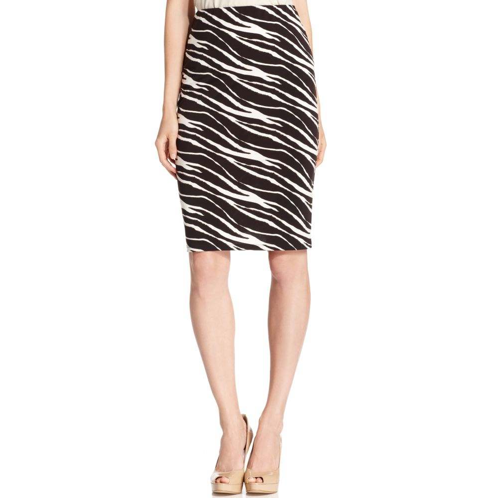 tracy zebra print pencil pull on skirt in multicolor