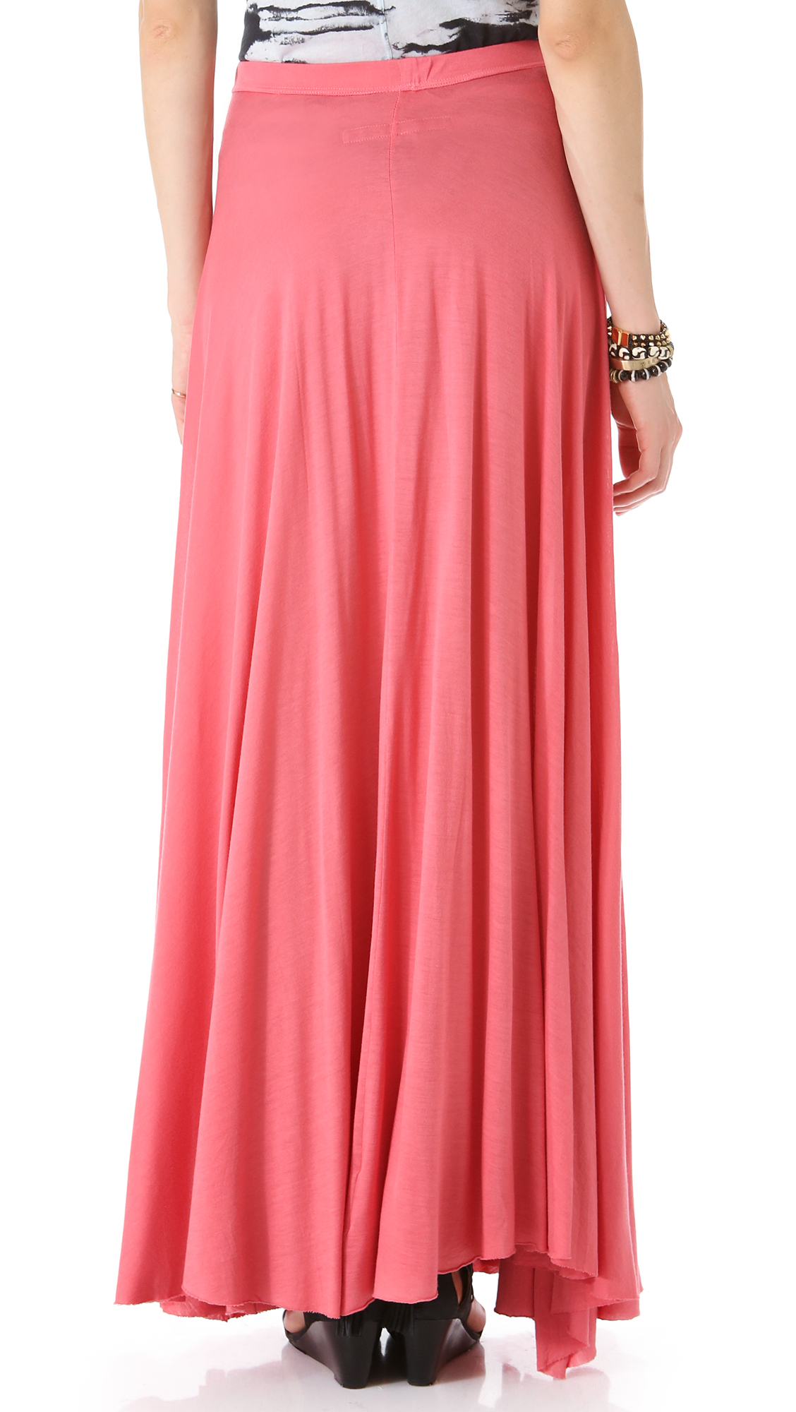 21f54eecd4 Lyst - Enza Costa Full Circle Maxi Skirt in Pink