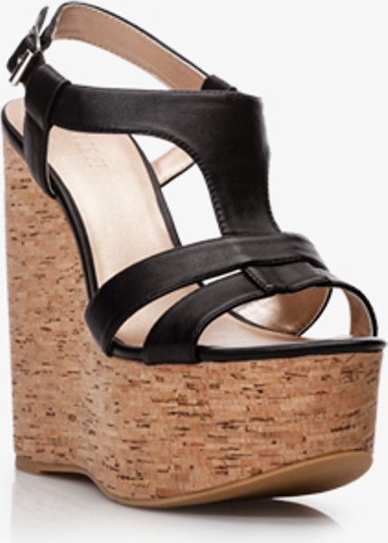 Forever 21 Faux Leather Cork Wedge Sandals In Black Lyst