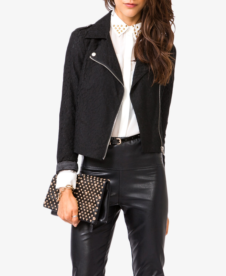 Forever 21 Lace Moto Jacket in Black