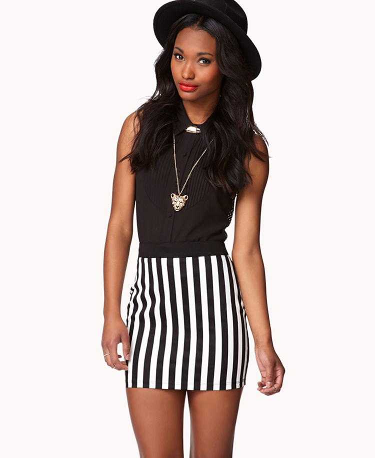 468ceffe68 Forever 21 Vertical Striped Pencil Skirt in Black - Lyst