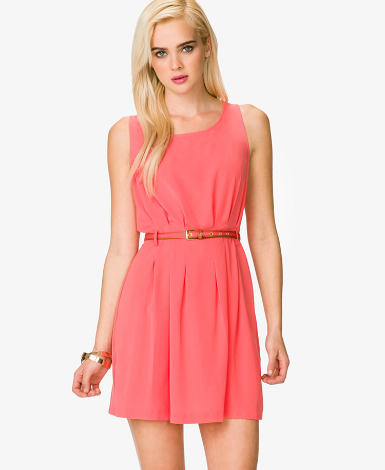 forever 21 pleated dress w striped belt in pink coral lyst