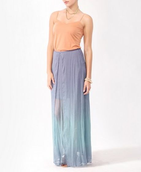 forever 21 layered ombr 233 maxi skirt in purple lavender
