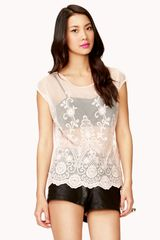 Forever 21 Embroidered Lace Top - Lyst