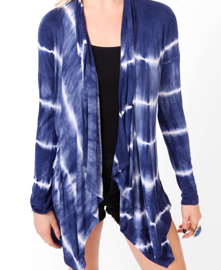lyst forever 21 open tiedye cardigan in blue