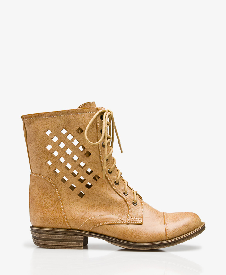 forever 21 cutout combat boots in brown lyst