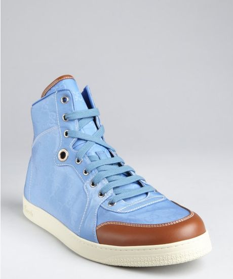 Gucci Light Blue And Brown Leather Hi Top Sneakers In Blue