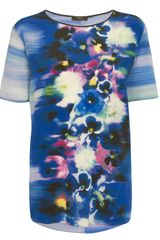 Paul Smith Black Label Blue Pansy Print Silk T-shirt