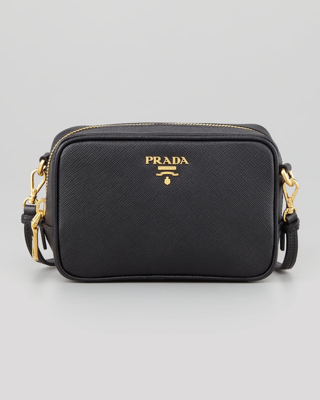 Lyst - Prada Saffiano Mini Zip Crossbody Bag in Black