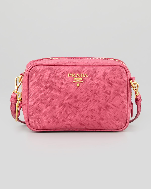 a452c41f8c ... 50% off lyst prada saffiano mini zip crossbody bag in pink 19040 b97b9
