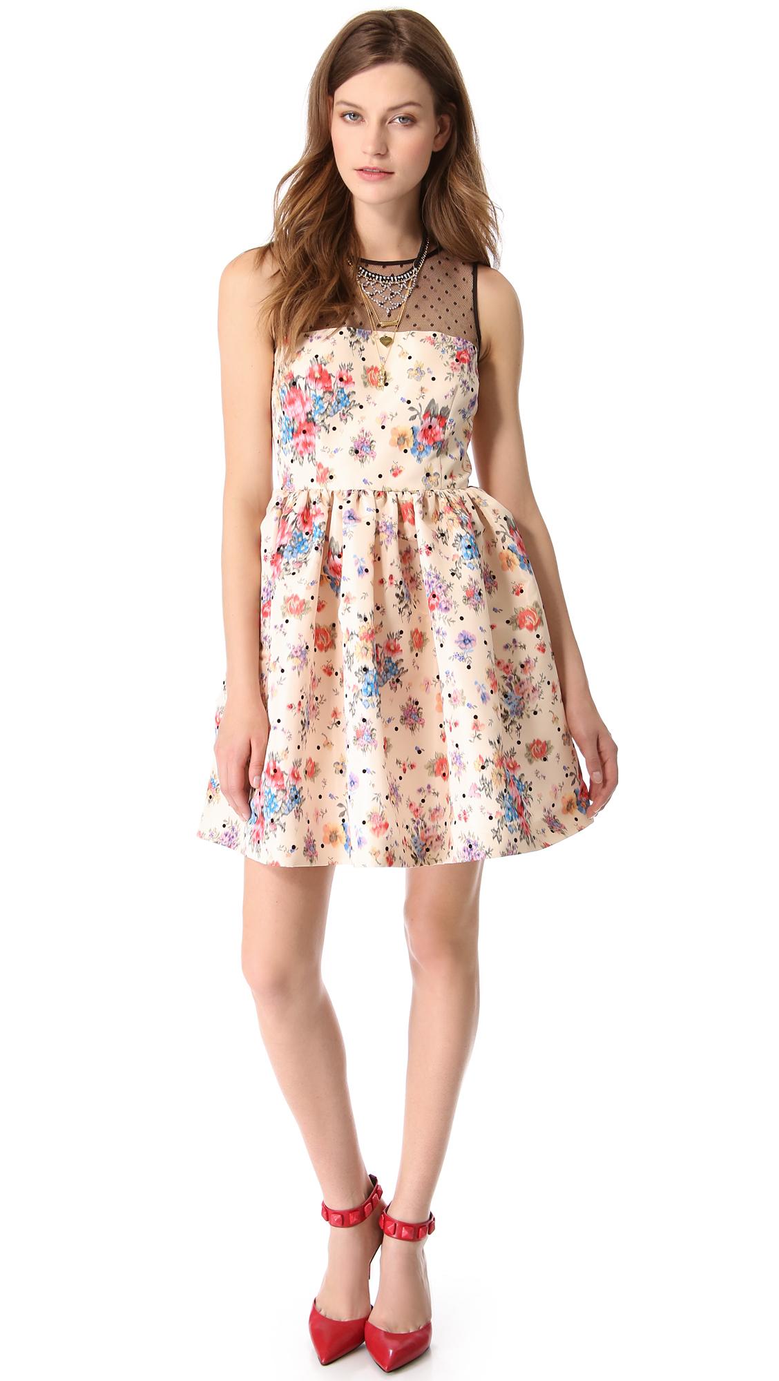842793be310 Lyst - RED Valentino Polka Dot Flower Dress