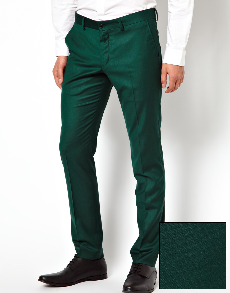 Lyst Asos Selected Skinny Fit Suit Pants In Green For Men
