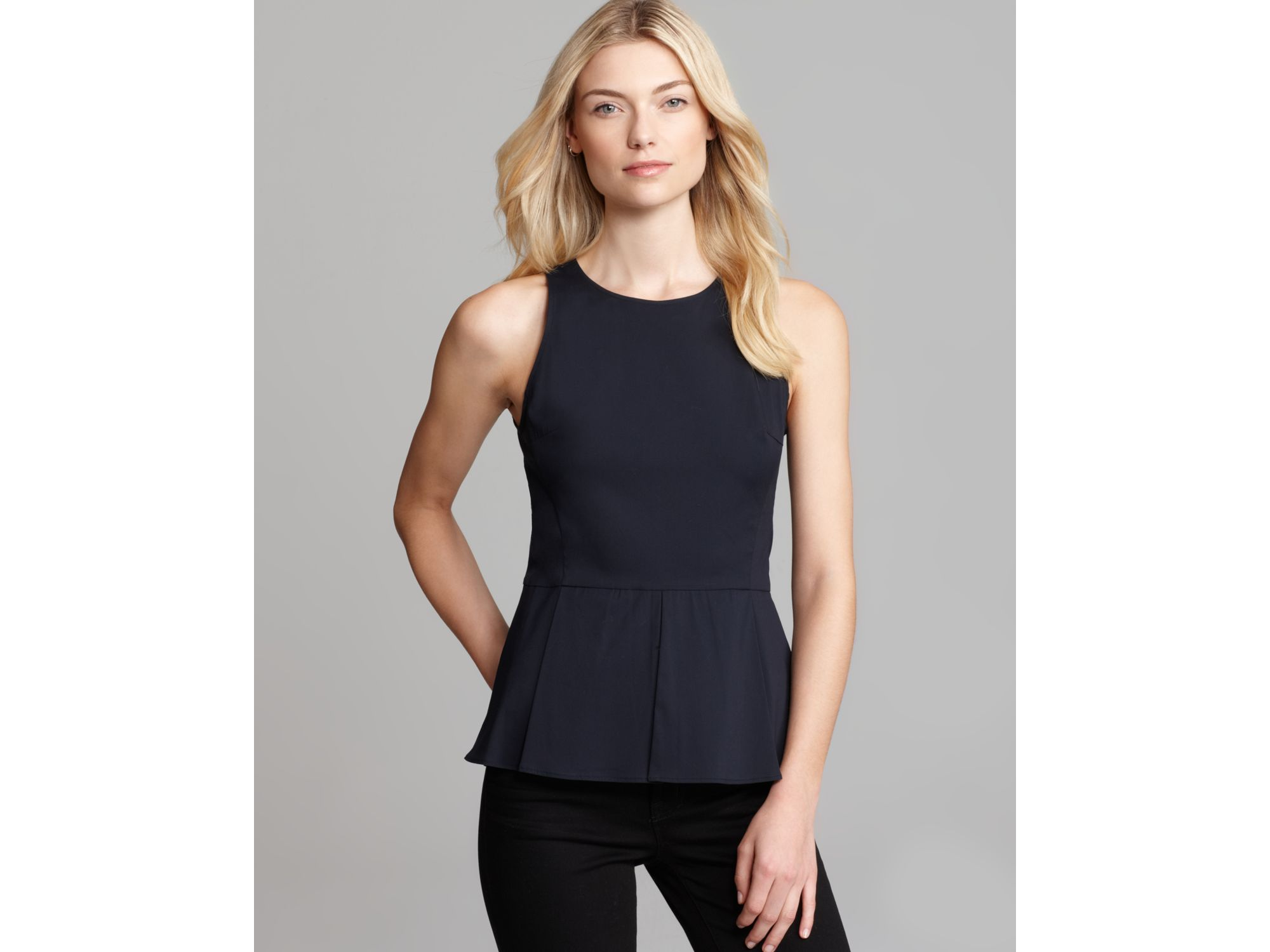 0942be31f2 Lyst - Theory Shirt Fif T Luxe Peplum in Blue