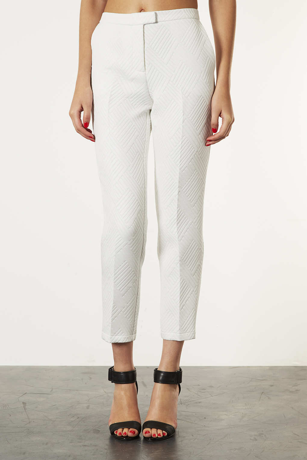 Topshop Quilted Cigarette Trousers In White Lyst