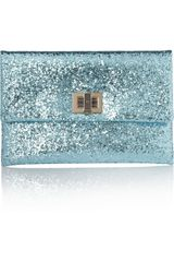 Anya Hindmarch Valorie Glitterfinished Leather Clutch - Lyst