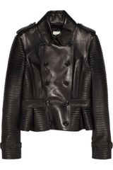 Burberry Leather Peplum Jacket - Lyst