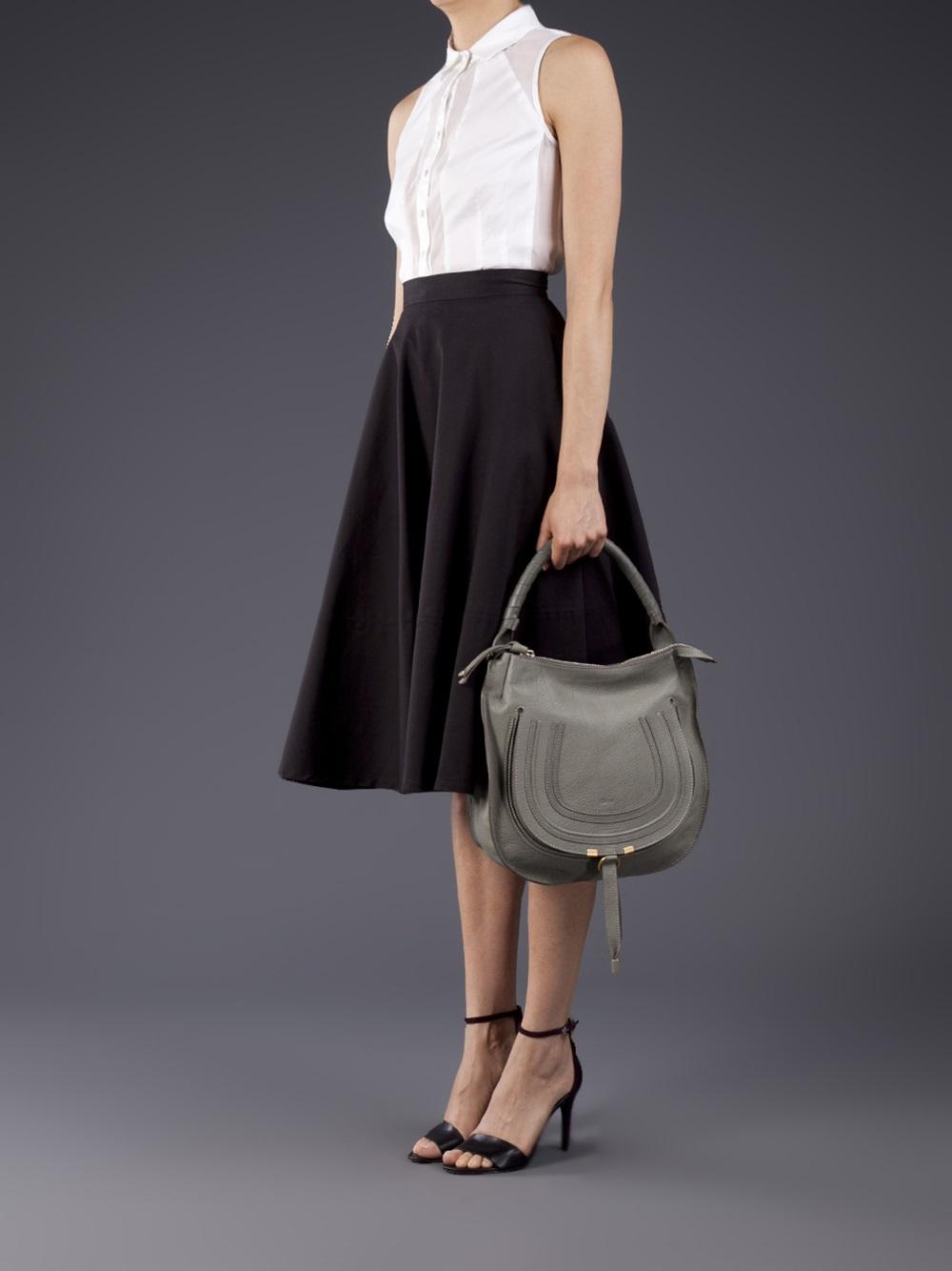 Chlo¨¦ Marcie Hobo Bag in Gray (gold) | Lyst