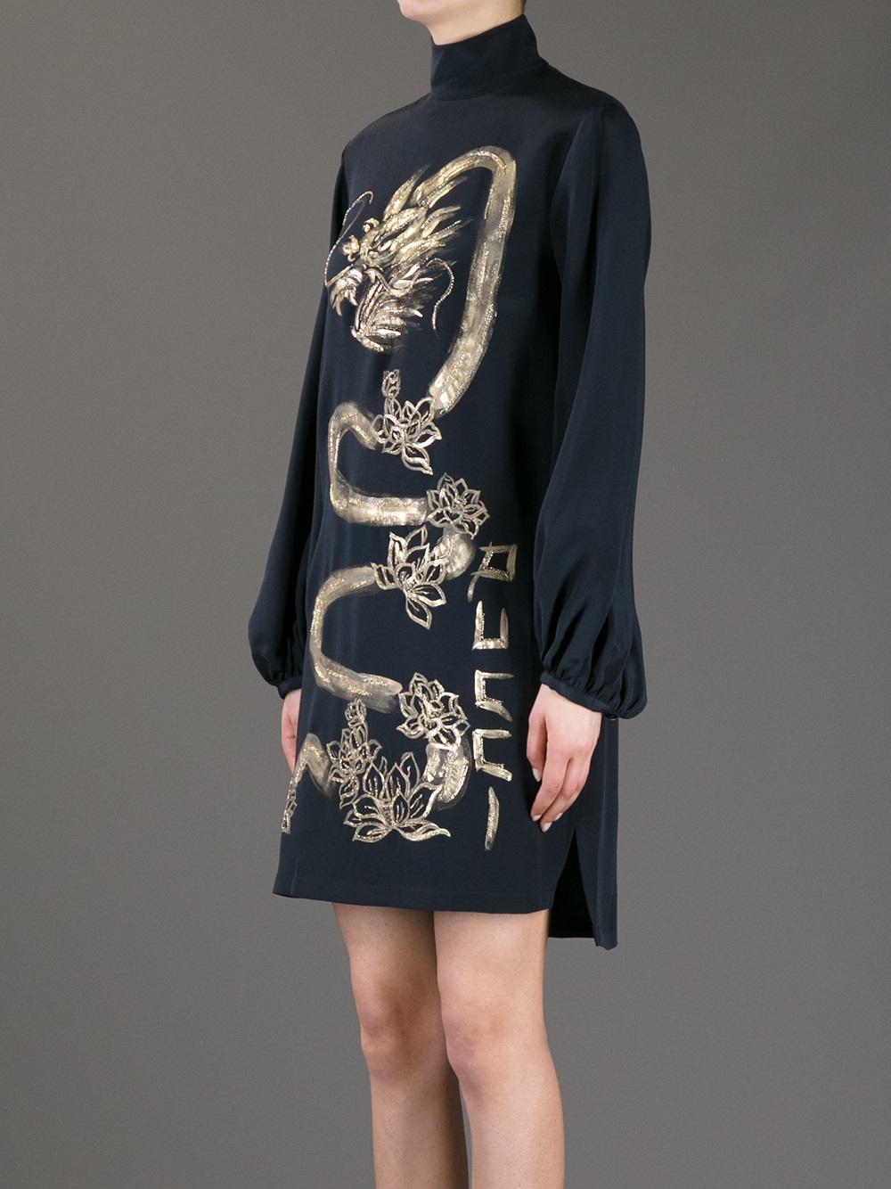Lyst Emilio Pucci Silk Dragon Dress In Blue