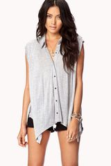 Forever 21 Heathered Pyramid Button Shirt - Lyst