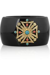Kenneth Jay Lane Tone Crystal and Resin Bangle - Lyst