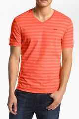 Lacoste Stripe V Neck T Shirt - Lyst