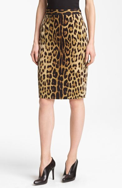 Moschino Cheap Amp Chic Leopard Print Pencil Skirt In Animal