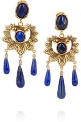 Oscar de la Renta Goldplated Lapis Lazuli Earrings - Lyst