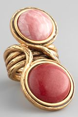 Oscar de la Renta Two-cabochon Ring Melon - Lyst
