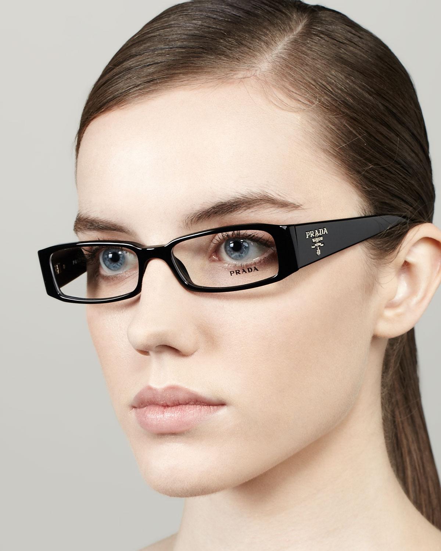 Lyst Prada Skinny Rectangle Fashion Glasses In Black