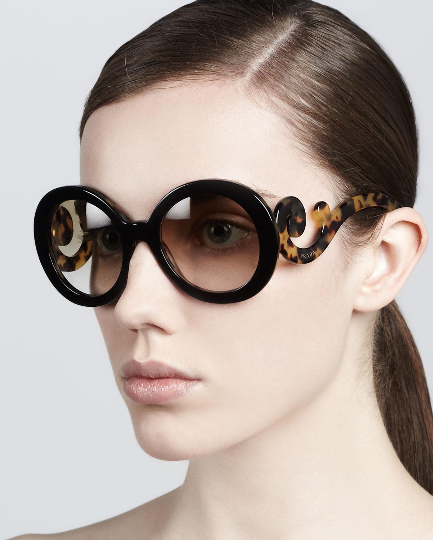 dacba755a20a ... coupon code lyst prada baroque round sunglasses in brown e8627 7a368