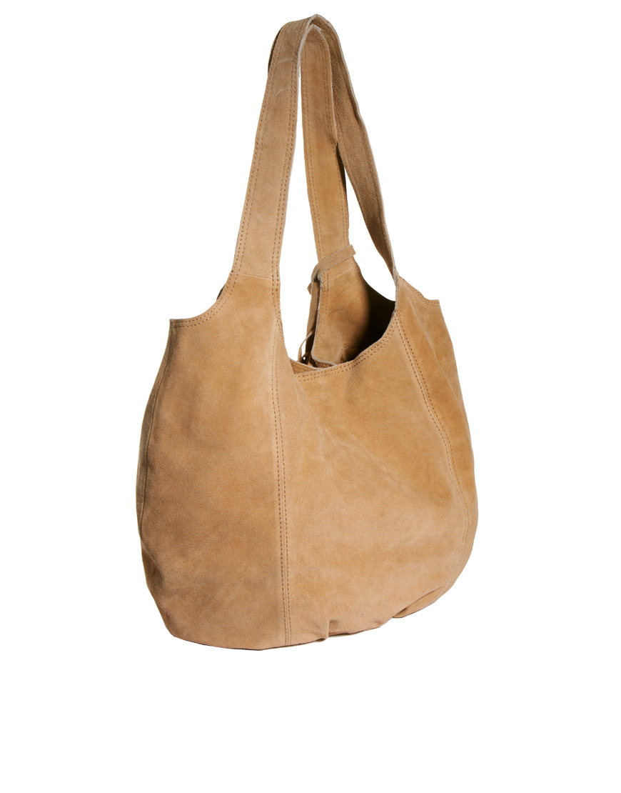 b9b5e2caa5fa Lyst - River Island Tan Fringed Suede Slouch Hobo Bag in Brown