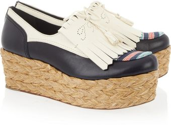 Tory Burch Ruth Raffia and Leather Wedge Sandals - Lyst