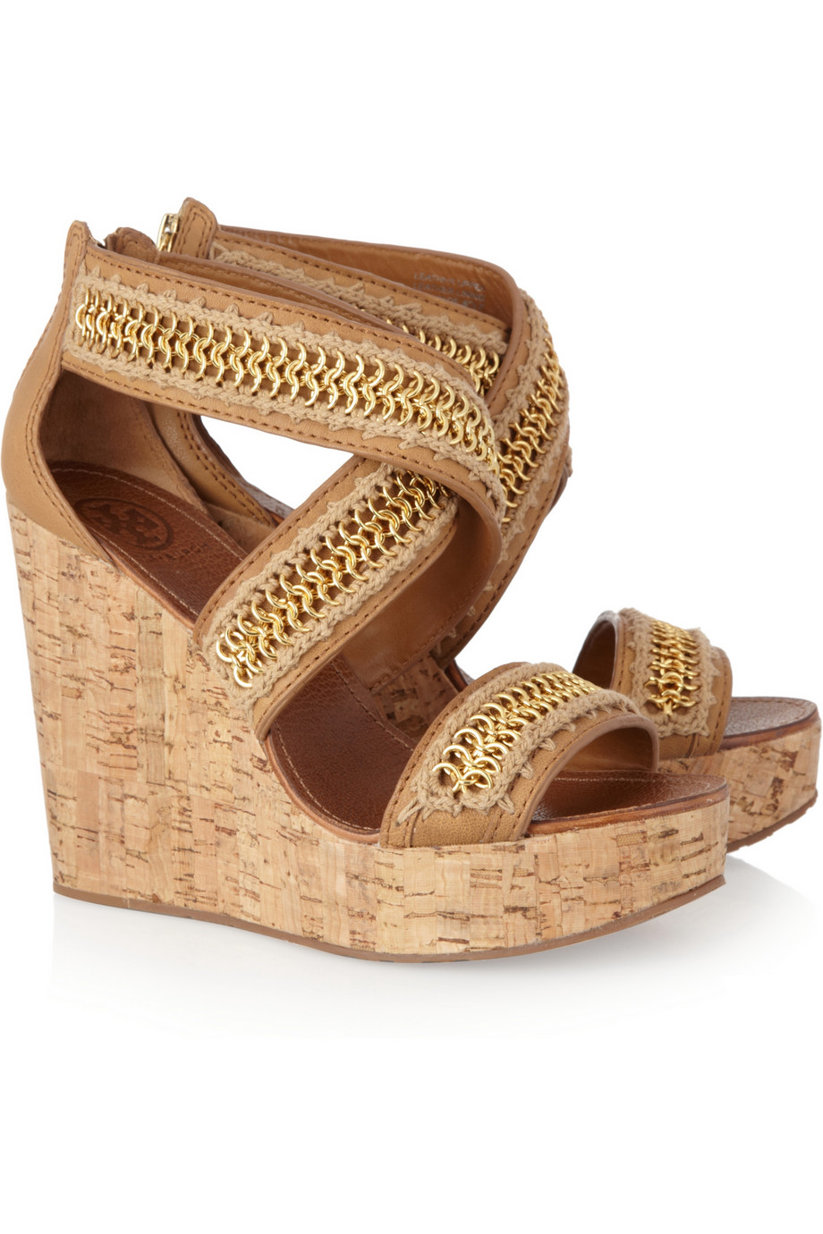 Lyst Tory Burch Lucian Leather And Cork Wedge Sandals In