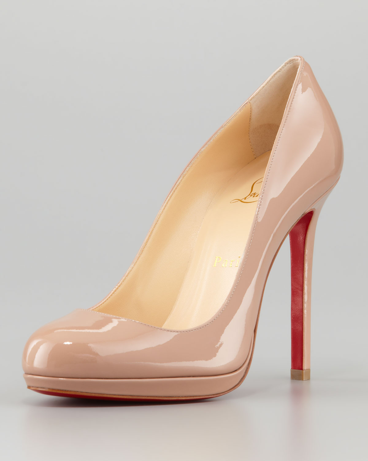 697a2e4a5be Lyst - Christian Louboutin Neofilo Patent Roundtoe Red Sole Pump ...