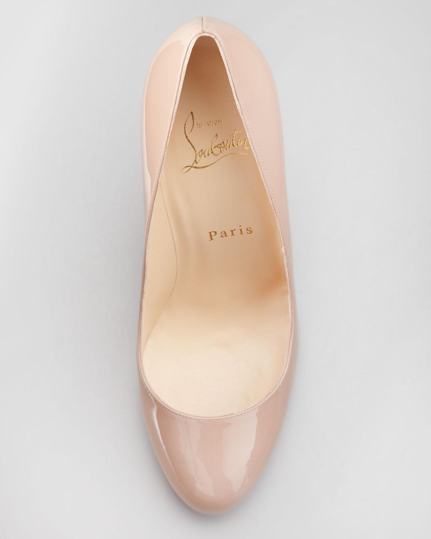 christian louboutin round-toe Prorata Pumps Nude Patent leather ...