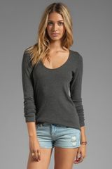 Dolan 2x1 Rib Long Sleeve Tee in Charcoal - Lyst