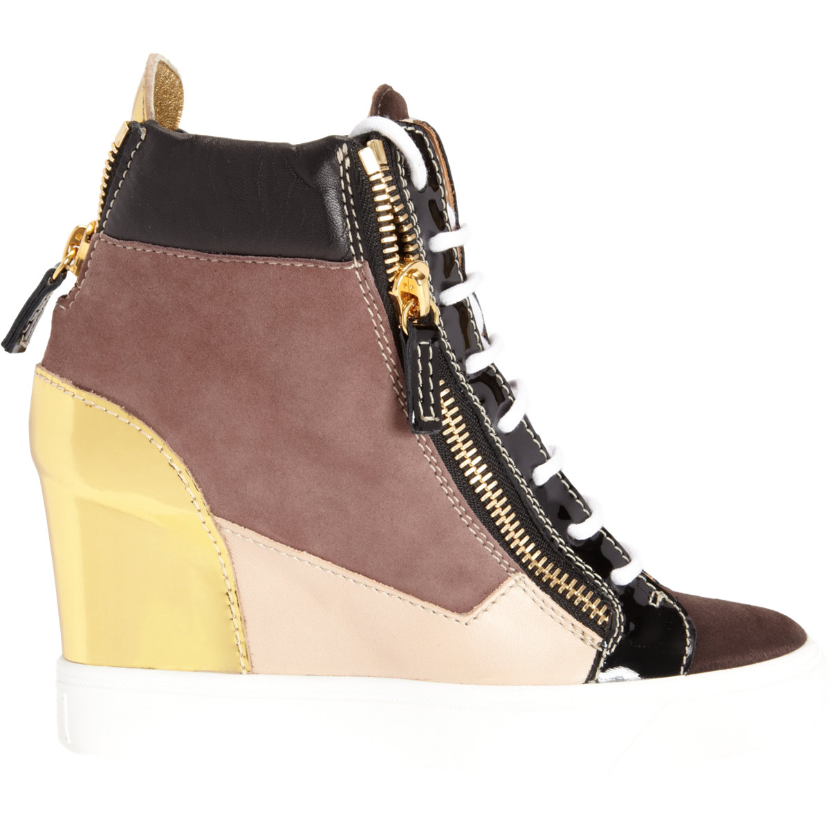Giuseppe Zanotti Colorblock Zip Wedge Sneaker in Brown | Lyst