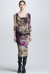 Jean Paul Gaultier Winter Gardenprint Draped Surplice Dress - Lyst