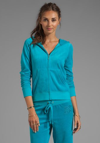 Juicy Couture Choose Juicy Velour Hoodie in Blue - Lyst